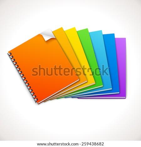 Spiral Ring Notebooks Rainbow, vector illustration - stock vector