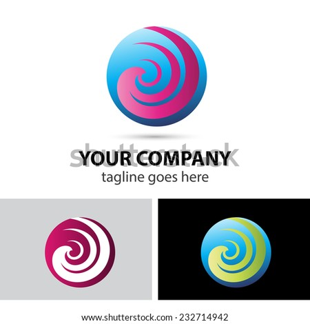 Spiral sphere abstract logo template