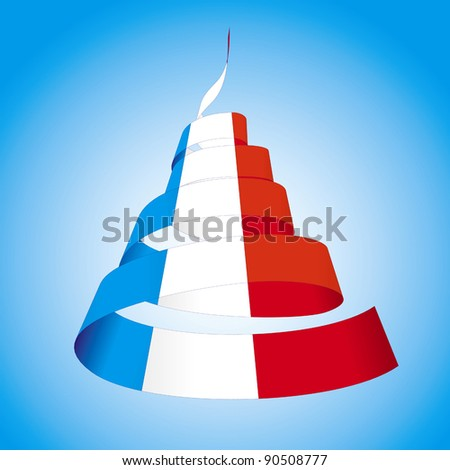 Spiral streamers in colors of national flags of France