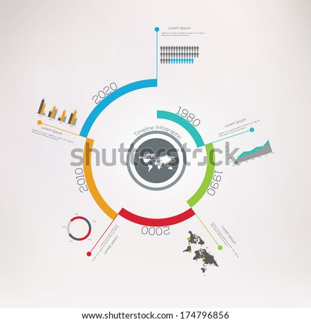 Spiral Timeline Infographics. Vector design template. - stock vector