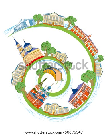 Spiral with historic architecture old Russian city Kaluga
