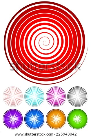 Spiral with 9 level stroke width  - stock vector