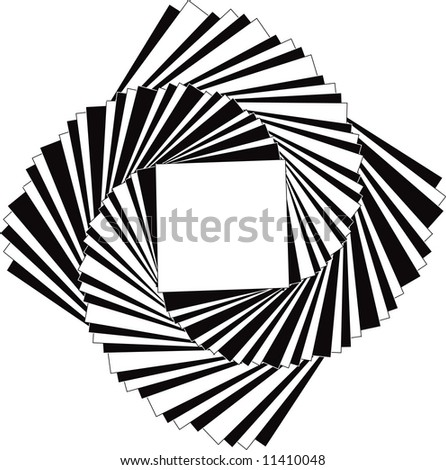 spiraling black and white squares - stock vector