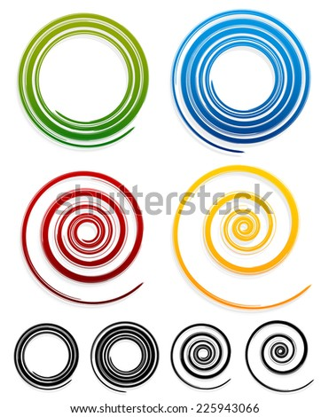 Spirals with grungy strokes, grunge effect - stock vector