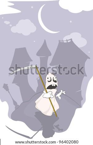 Spirit and night city - stock vector