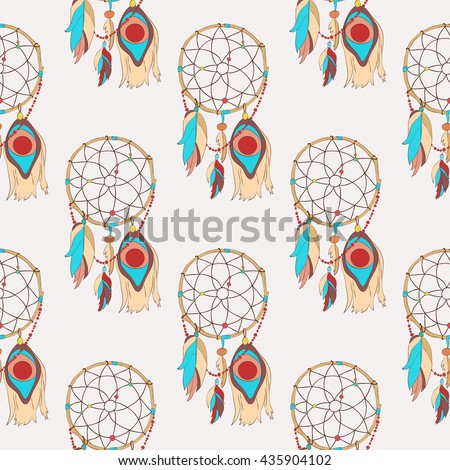 Spiritual and magical dreamcatcher seamless pattern. Tribal indian sacred totem for sleep protection made of bird quills and feathers, web or net. Traditional american and ojibwe paganism symbol - stock vector