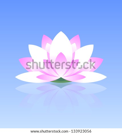Spiritual lotus flower icon on calm water surface with reflection - stock vector