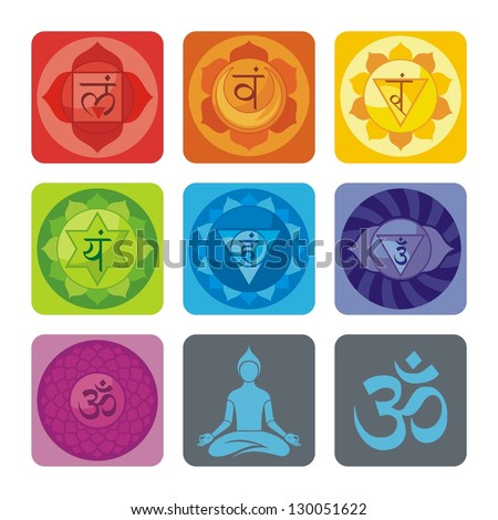 Spiritual set with chakras and yoga icons - stock vector