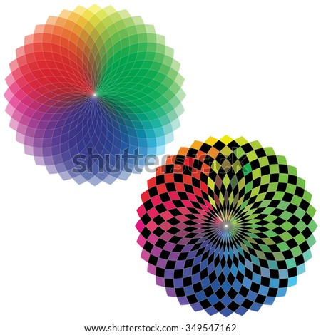 Spirograph Geometric Drawing - Color Spectrum (Set A)   - stock vector