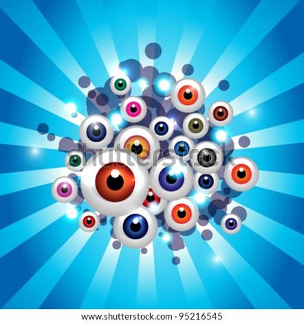 Splash color eyes - stock vector