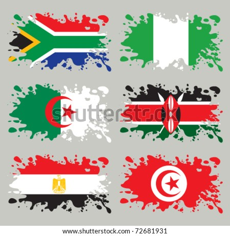 Splash flags set Africa. Each in separated layer, easy to use, without gradients and transparencies. - stock vector