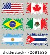 Splash flags set America. Each in separated layer, easy to use, without gradients and transparencies. - stock photo