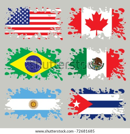 Splash flags set America. Each in separated layer, easy to use, without gradients and transparencies. - stock vector