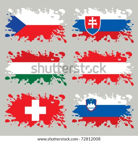 Splash flags set Middle Europe. Each in separated layer, easy to use, without gradients and transparencies. - stock vector