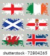 Splash flags set Northern Europe. Each in separated layer, easy to use, without gradients and transparencies. - stock photo