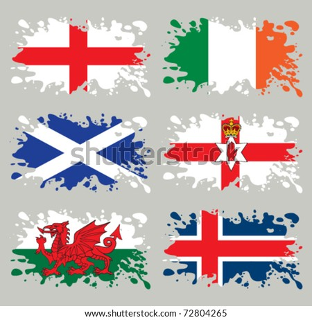 Splash flags set Northern Europe. Each in separated layer, easy to use, without gradients and transparencies. - stock vector