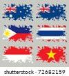 Splash flags set Oceania & Southern Asia. Each in separated layer, easy to use, without gradients and transparencies. - stock