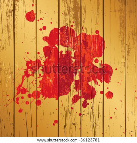 splash on wooden background - stock vector