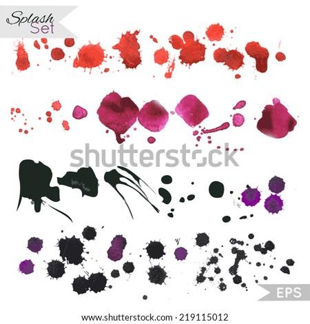 Splash set. Inky blot spatter. Watercolor spray. Vector illustration. - stock vector