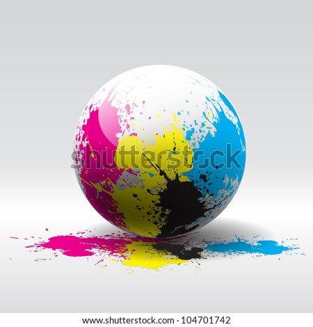Splashes of four printing colors over ball - vector grunge bakground - stock vector