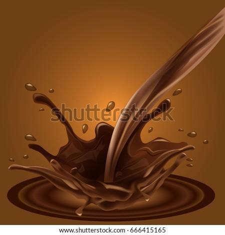 Splashing Chocolate Liquid Your Advertisement Background 666415165