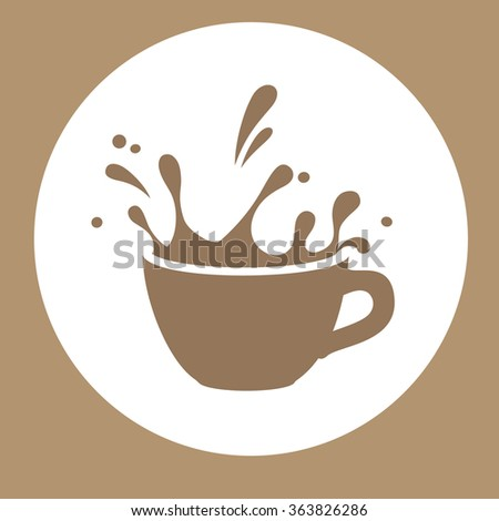 splashins coffee cup vector sign - stock vector
