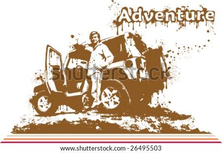 Splatter Artwork Jeep Adventures - stock vector