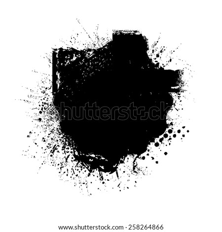 Splatter Paint Texture . Distress Texture . Grain Texture . Noise Texture . Black Paint Spray Texture . Blot of Ink . Simply Place Texture Over any Object or Background to Create Grunge Effect . - stock vector