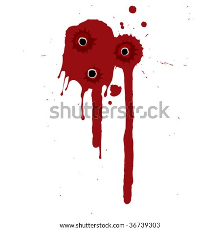 Splattered blood pattern with drips and shotgun holes - stock vector