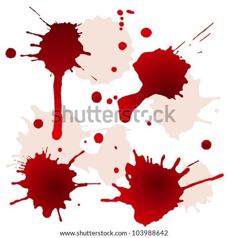 Splattered blood stains - stock vector