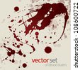 Splattered blood stains, set 17 - stock vector