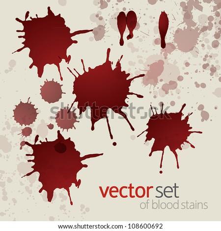 Splattered blood stains, set 3 - stock vector