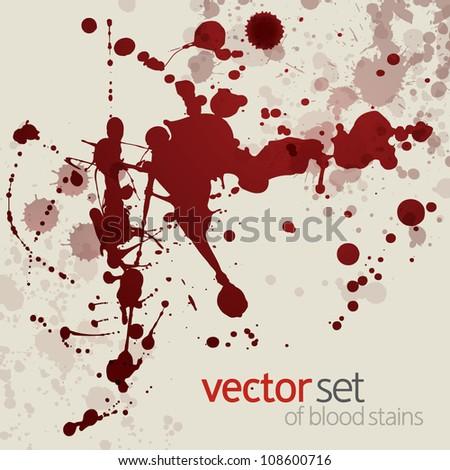 Splattered blood stains, set 15 - stock vector