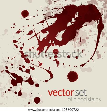 Splattered blood stains, set 17 - stock vector