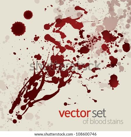 Splattered blood stains, set 11 - stock vector