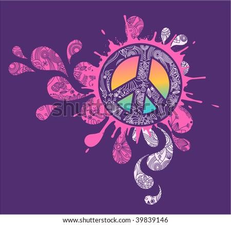 Splattered Peace sign - stock vector