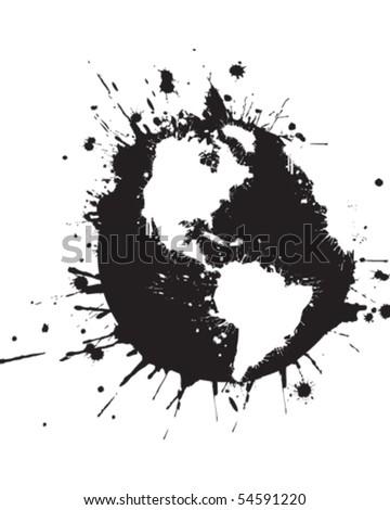 Splattered World Black - stock vector