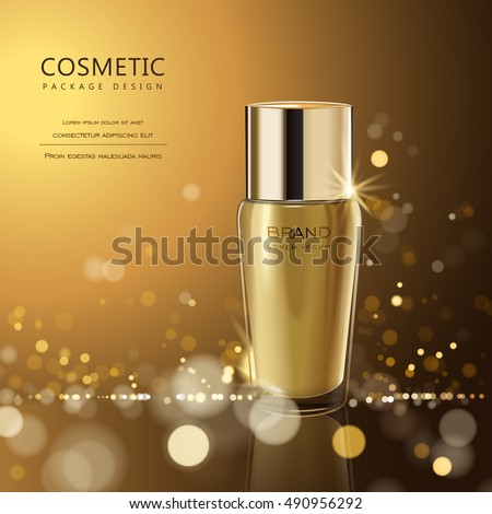Splendid cosmetic product poster, golden bottle package design with moisturizer cream or liquid, sparkling background with glitter polka, 3D illustration