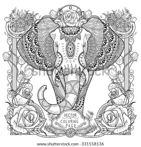 splendid elephant coloring page in exquisite style - stock vector