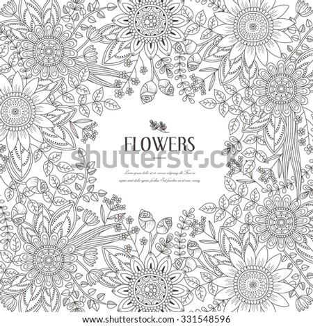 splendid flower frame coloring page in exquisite style - stock vector