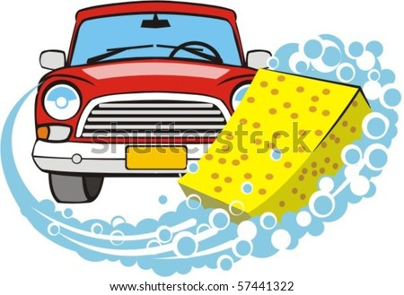 sponge leaves wet soapy trace on background of the front of car - stock vector