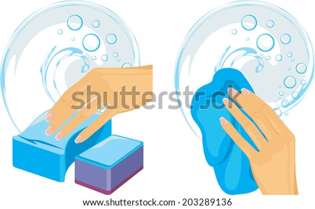 Sponges and cleaning rag in female hand. Vector - stock vector