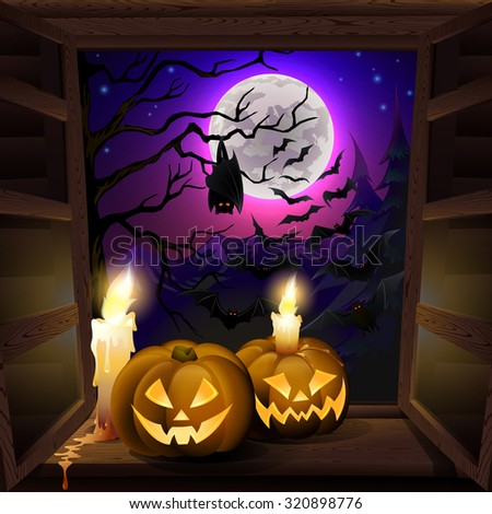 Spooky background for halloween greeting card, with pumpkins on window. EPS 10 contains transparency. - stock vector