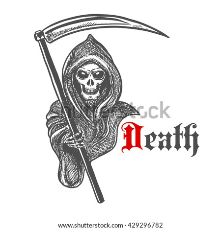 Spooky death skeleton in hooded cape cloak with scythe. Sketched grim reaper character for Halloween decoration or tattoo design - stock vector