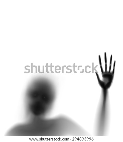spooky diffuse silhouette hand and face vector editable - stock vector