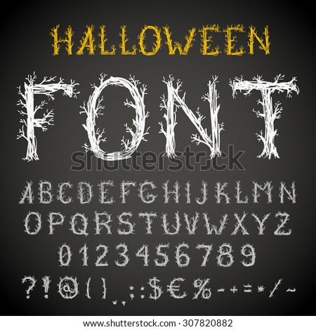 Spooky  forest style hand drawn font, pencil stroke alphabet, grunge style with tree-like letters. Vector EPS10 - stock vector