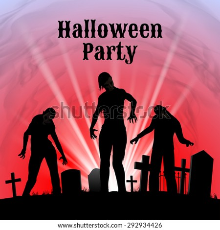 Spooky graveyard on Halloween Night, Halloween Party poster in black, red and white with zombie - stock vector