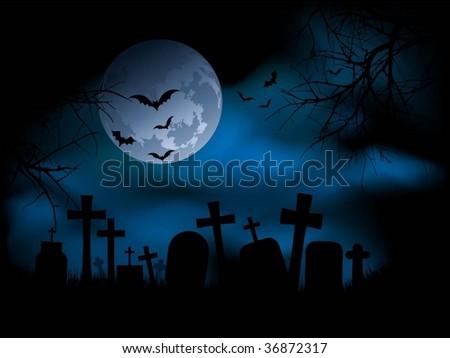 Spooky graveyard scene - stock vector