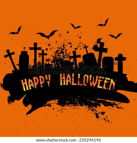 Spooky grunge Halloween background with gravestones and bats - stock vector