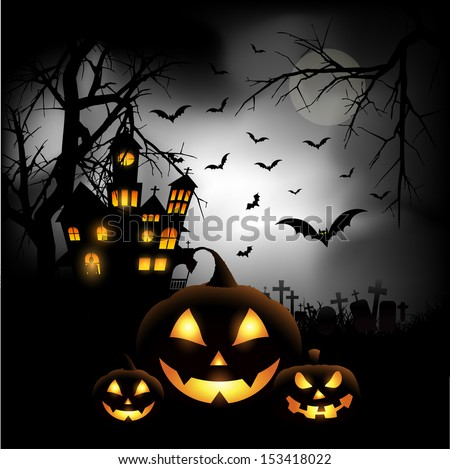 Spooky Halloween background with pumpkins in a cemetery - stock vector